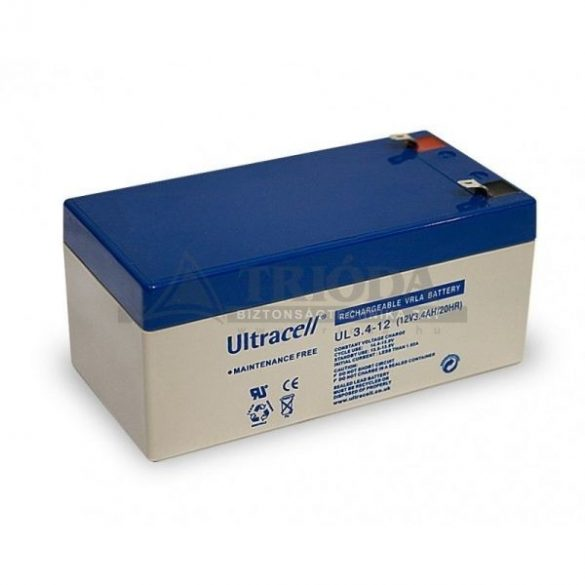 AU-12034 12V3,4Ah  gondozásmentes akkumulátor biztonságtechnikai rendszerekhez