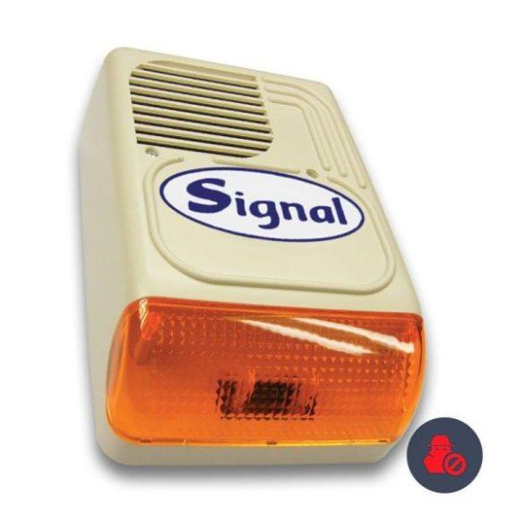 Signal PS-128-1S kültéri hang- és fényjelző sziréna kifújás elleni védelemmel (korábban: PS-128ASZ/Signal kültéri hang-fényjelző, 12V, beépített szabotázspanellel)