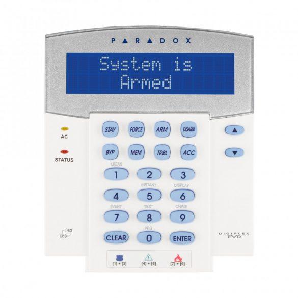 PARADOX-K641LX vezetékes LCD kezelő, integrált rádió adó-vevővel, EVO-hoz