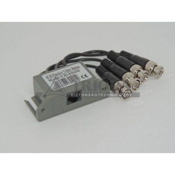 AXGL203 passzív video balun 4 csatornás, RJ45, lengő BNC aljzattal