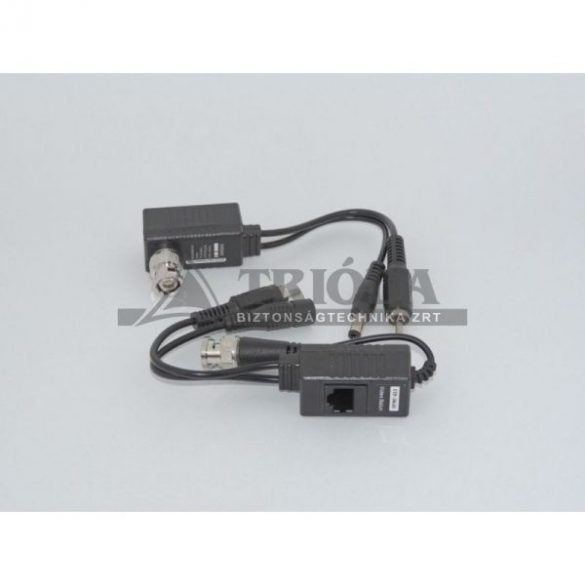 AXGL006 passzív video balun pár, RJ45, tápfeladó+levevő,1 csatornás+RCA (audio)