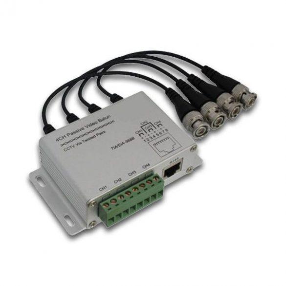 AXGL010 passzív video balun 4 csat, RJ45, 8-as sorkapocs, lengő BNC