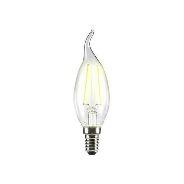 LED izzó, 4W, Filament gyertyaláng, E14, 400lumen, meleg fehér, VT-4302
