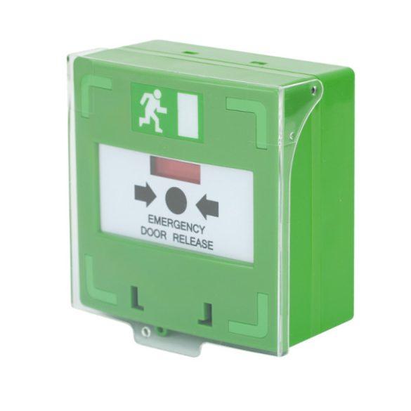 SCP-110-GN visszaállítható kézi jelzésadó védőfedéllel 3 kapcsolós NO/NC/COM, zöld LED világítással